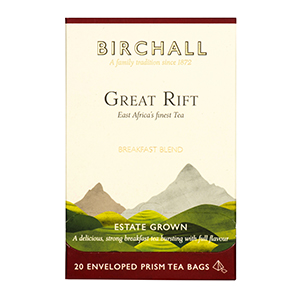 BIRCHALL GREAT RIFT BREAKFAST BLEND TAG & ENVELOPE PRISM TEA BAGS (20 bags)