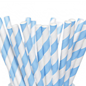 BLUE & WHITE STRIPED PAPER STRAWS x 250