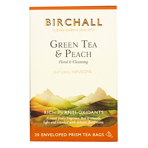BIRCHALL GREEN TEA & PEACH TAG & ENVELOPE PRISM TEA BAGS (20 bags)