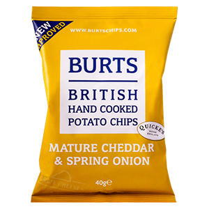 BURTS CHIPS MATURE CHEDDAR & SPRING ONION CRISPS (40g) x 20
