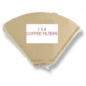 1x4 UNBLEACHED COFFEE FILTER PAPERS x 100