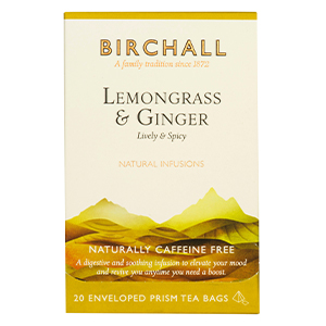 BIRCHALL LEMONGRASS & GINGER TAG & ENVELOPE PRISM TEA BAGS (20 bags)