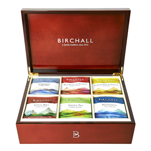 BIRCHALL TEA 6 COMPARTMENT WOODEN DISPLAY BOX