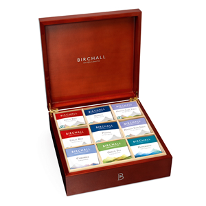 BIRCHALL TEA 8 COMPARTMENT WOODEN DISPLAY BOX