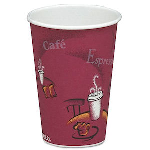 SOLO BISTRO PATTERNED PAPER HOT DRINK CUPS (12oz/341ml) x 1000