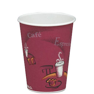 SOLO BISTRO PATTERNED PAPER HOT DRINK CUPS (8oz/227ml) x 1000