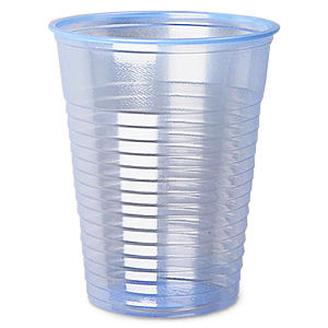 CLEAR BLUE PLASTIC CUPS FOR WATER (6.5OZ/18CL) x 1500