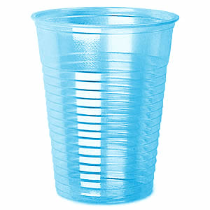 CLEAR BLUE PLASTIC CUPS FOR WATER (6.5OZ/18CL) x 1000