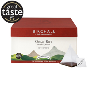 BIRCHALL GREAT RIFT BREAKFAST BLEND TAG & ENVELOPE PRISM TEA BAGS (50 bags)