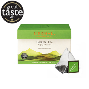 BIRCHALL GREEN TEA TAG & ENVELOPE PRISM TEA BAGS (20 bags)