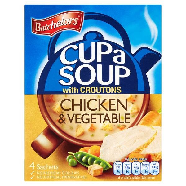 BATCHELORS CUP-A-SOUP SACHETS CHICKEN & VEGETABLE (4 SACHETS) x 9