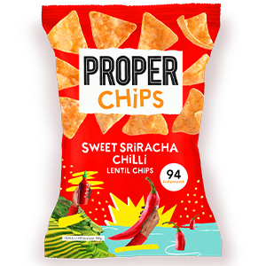 PROPERCHIPS SWEET SRIRACHA CHILLI LENTIL CHIPS (20g) x 24
