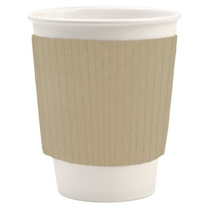 KRAFT CARD CORRUGATED PAPER CUP SLEEVES (fits 8oz/10oz cups) x 1000