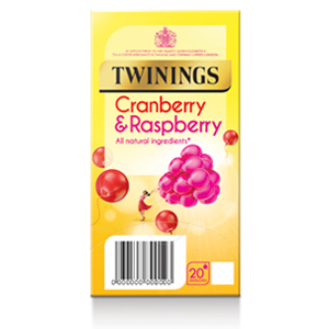 TWININGS CRANBERRY & RASPBERRY TAG & ENVELOPE TEA BAGS (20 bags)