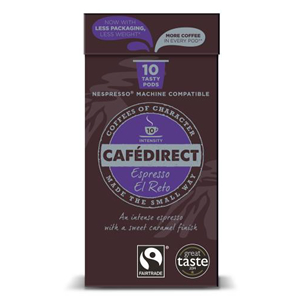 CAFÉDIRECT NESPRESSO COMPATIBLE COFFEE CAPSULES - ESPRESSO EL RETO INTENSITY 10 (10 pods)