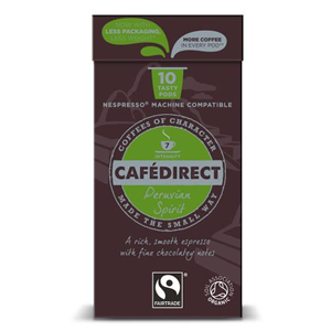 CAFÉDIRECT NESPRESSO COMPATIBLE COFFEE CAPSULES - ESPRESSO PERU INTENSITY 7 (10 pods)
