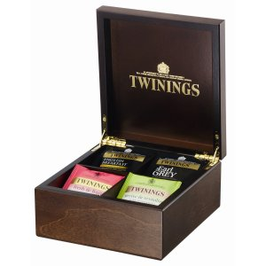 TWININGS 4 COMPARTMENT WOODEN TEA DISPLAY BOX