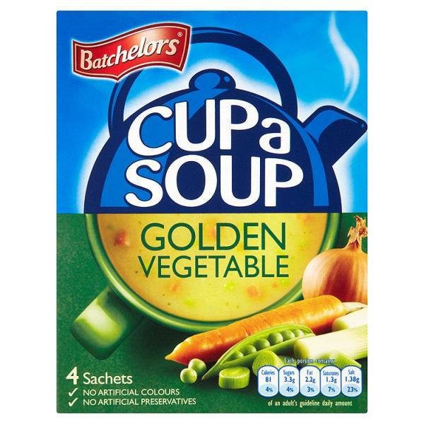 BATCHELORS CUP-A-SOUP SACHETS GOLDEN VEGETABLE (4 SACHETS) x 9