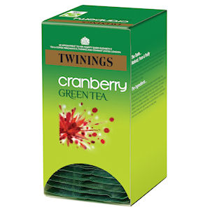 TWININGS GREEN TEA & CRANBERRY TAG & ENVELOPE TEA BAGS (20 bags)