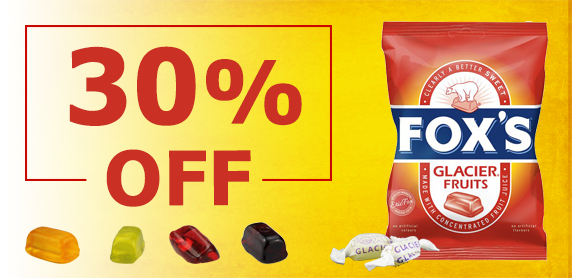 Save 30% with Fox's Glacier Fruits