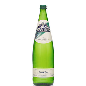 HIGHLAND SPRING WATER SPARKLING - GREEN GLASS BOTTLES (1L) x 12
