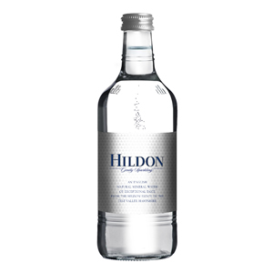 HILDON MINERAL WATER SPARKLING - CLEAR GLASS BOTTLES (330ml) x 24