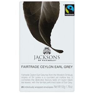 JACKSONS OF PICCADILLY FAIRTRADE CEYLON EARL GREY TAG & ENVELOPE TEA BAGS (20 bags)
