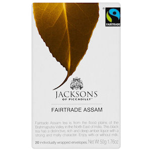 JACKSONS OF PICCADILLY FAIRTRADE ASSAM TAG & ENVELOPE TEA BAGS (20 bags)