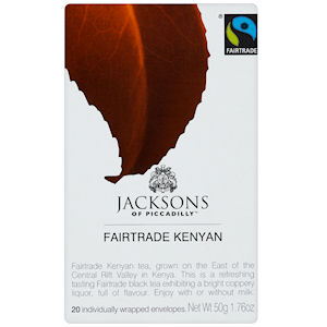 JACKSONS OF PICCADILLY FAIRTRADE KENYAN TAG & ENVELOPE TEA BAGS (20 bags)