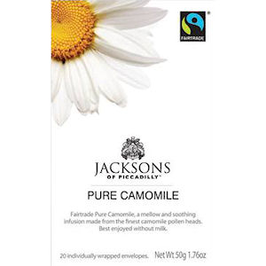 JACKSONS OF PICCADILLY FAIRTRADE PURE CAMOMILE TAG & ENVELOPE TEA BAGS (20 bags)