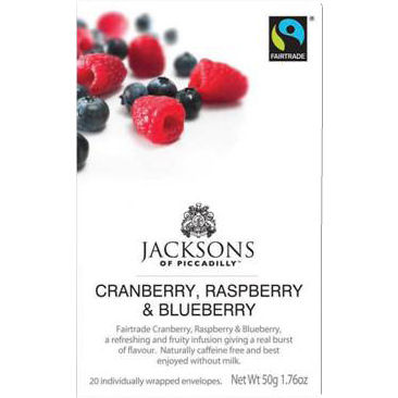 JACKSONS OF PICCADILLY FAIRTRADE CRANBERRY, RASPBERRY & BLUEBERRY TAG & ENVELOPE TEA BAGS (20 bags)