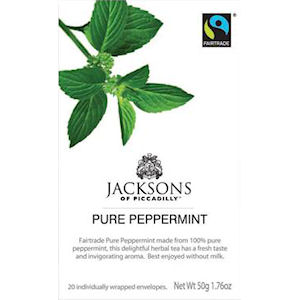 JACKSONS OF PICCADILLY FAIRTRADE PURE PEPPERMINT TAG & ENVELOPE TEA BAGS (20 bags)