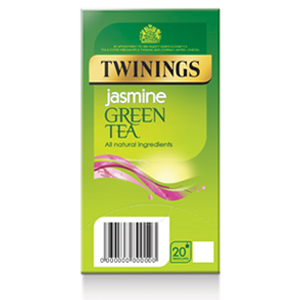 TWININGS GREEN TEA & JASMINE TAG & ENVELOPE TEA BAGS (20 bags)