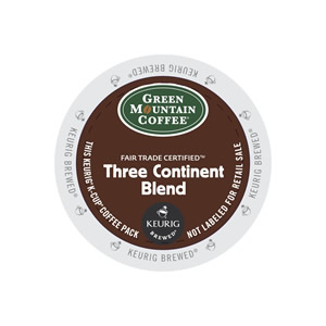 KEURIG K-CUP GREEN MOUNTAIN COFFEE THREE CONTINENT BLEND - CASE OF 96 PODS (PACKED AS 4 BOXES OF 24 INDIVIDUAL PODS)