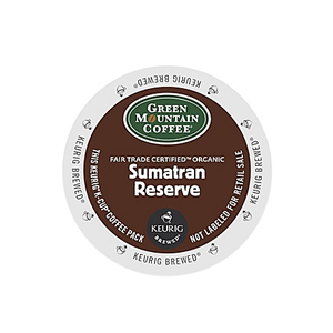 KEURIG K-CUP GREEN MOUNTAIN COFFEE ORGANIC SUMATRAN RESERVE - CASE OF 96 PODS (PACKED AS 4 BOXES OF 24 INDIVIDUAL PODS)