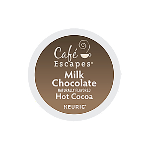 KEURIG K-CUP CAFE ESCAPES MILK HOT CHOCOLATE - CASE OF 96 PODS (PACKED AS 4 BOXES OF 24 INDIVIDUAL PODS)