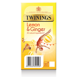 TWININGS REVITALISING LEMON & GINGER TEA BAGS (20 bags)