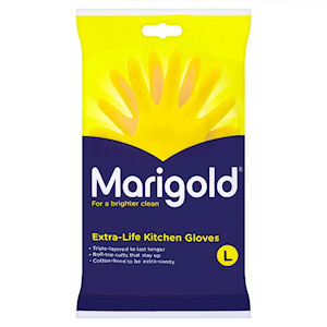 MARIGOLD EXTRA-LIFE KITCHEN GLOVES YELLOW LARGE - PAIR