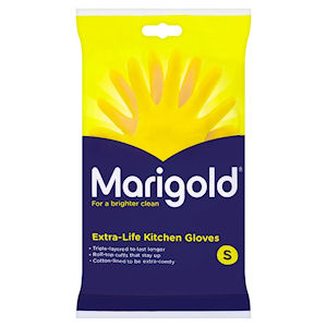 MARIGOLD EXTRA-LIFE KITCHEN GLOVES YELLOW SMALL - PAIR