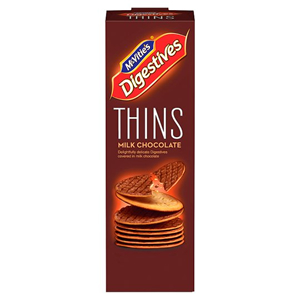 McVITIE'S THINS MILK CHOCOLATE DIGESTIVES (180g) x 12