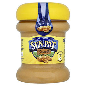 ORIGINAL SUN-PAT SMOOTH PEANUT BUTTER JARS (340g) x 6