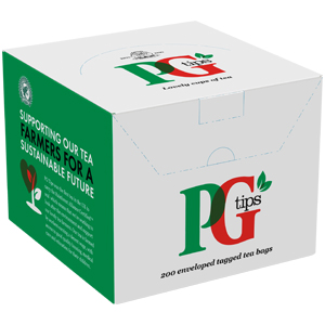 PG TIPS PREMIUM ONE CUP TAG & ENVELOPE TEA BAGS (200 bags)