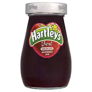 HARTLEY'S BEST SEEDLESS RASPBERRY JAM JARS (340g) x 6