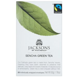 JACKSONS OF PICCADILLY FAIRTRADE SENCHA GREEN TEA TAG & ENVELOPE TEA BAGS (20 bags)