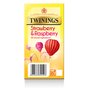 TWININGS STRAWBERRY & RASPBERRY TEA BAGS (20 bags)