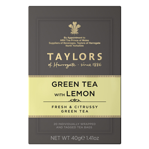 TAYLORS OF HARROGATE GREEN TEA WITH LEMON TEA BAGS (20 bags)