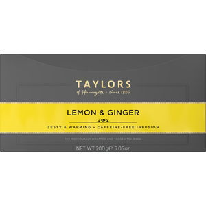 TAYLORS OF HARROGATE LEMON & GINGER TAG & ENVELOPE TEA BAGS (100 bags)
