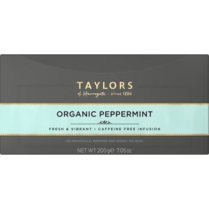 TAYLORS OF HARROGATE ORGANIC PEPPERMINT TAG & ENVELOPE TEA BAGS (100 bags)