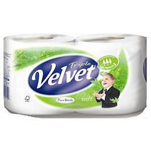 TRIPLE VELVET 3 PLY TOILET TISSUE WHITE (2-roll packs) x 12