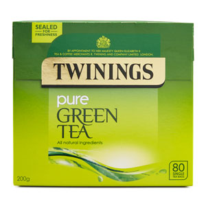 TWININGS PURE GREEN LOOSE TEA BAGS (80 bags) x 4